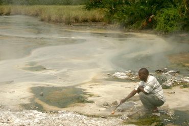 Boiling eggs in the hot spring of Semuliki National Park Uganda