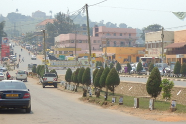 Fort Portal Town with palace of Tooro king on hill in background