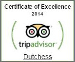 Tripadvisor certificate of excellence 2014 for Dutchess