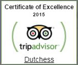 Tripadvisor certificate of excellence 2015 for Dutchess